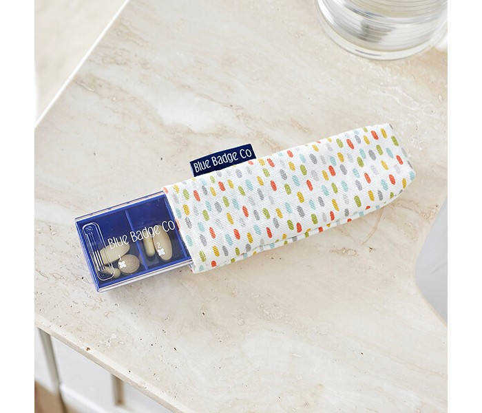 The Blue Badge Company Everyday Pill Box is Supplied with a Dash-Patterned Carry Case