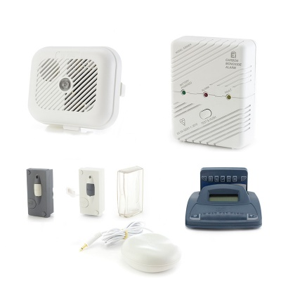 Silent Alert SA3000 Smoke, Carbon Monoxide, Telephone and Outdoor Doorbell Alarm Pack with Alarm Clock Charger