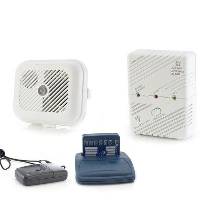 Care Call Smoke, Carbon Monoxide and Key Fob Transmitter Alarm System with Pager