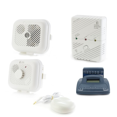 Silent Alert SA3000 Smoke, Carbon Monoxide and Heat Alarm Pack with Alarm Clock Charger