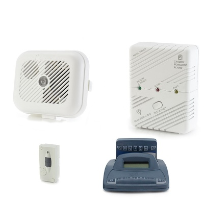 Silent Alert SA3000 Smoke, Carbon Monoxide and Door Alarm Pack with Alarm Clock Charger